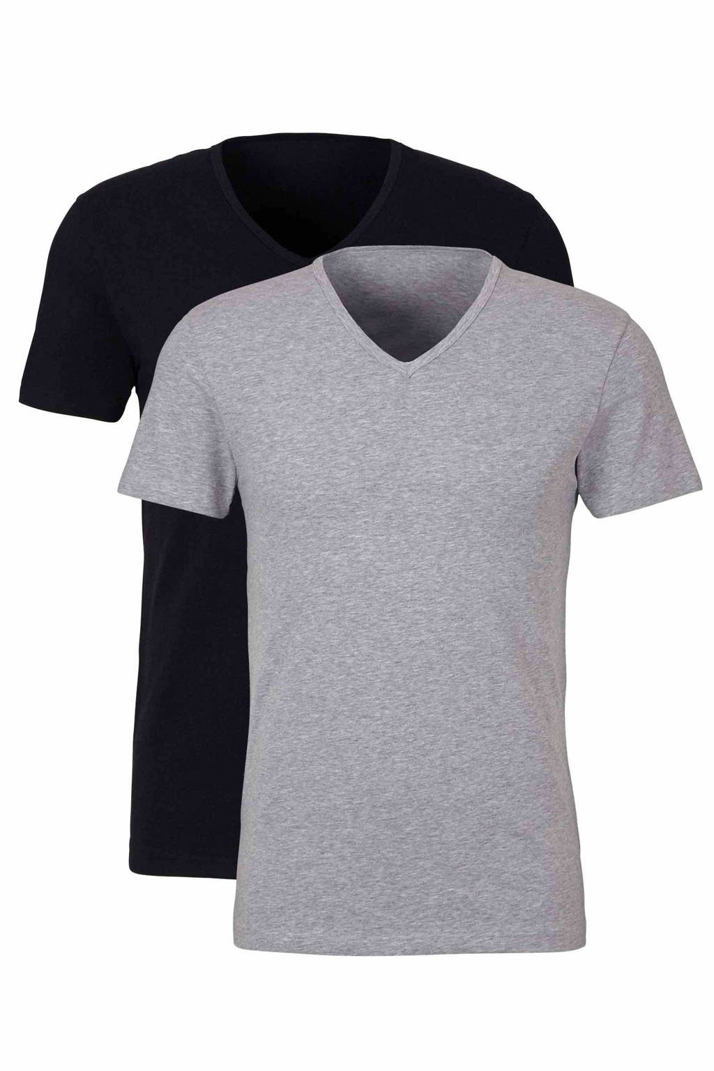 whkmp's own T-shirt (set van 2) zwart/grijs, Zwart/grijs