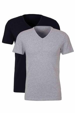 T-shirt (set van 2) zwart/grijs