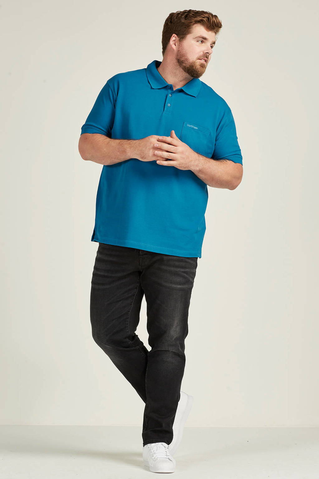 North 56°4 +size polo, Kobalt blauw