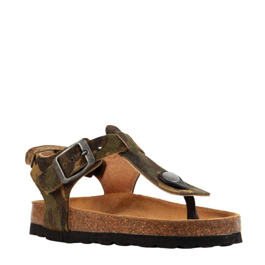 baf763d3baac05 Develab leren sandalen jongens, Camouflage groen