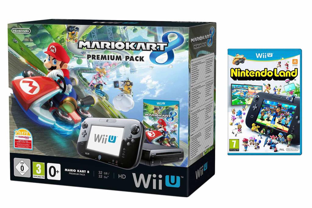 Nintendo Wii U 32GB bundel + Mario Kart 8 + Nintendo Land, Zwart (glanzend)