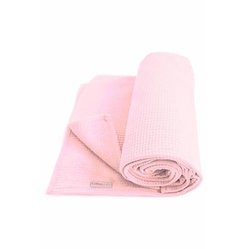Cottonbaby wafel ledikantdeken roze