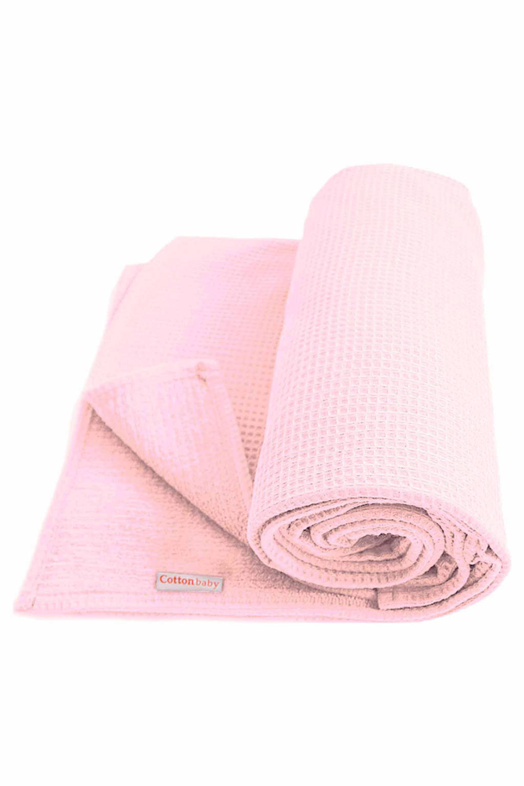 Cottonbaby Wafel ledikantdeken 120x150 cm roze, Roze
