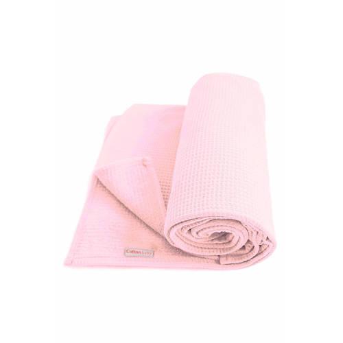 Cottonbaby Wafel wiegdeken 75x90 cm roze kopen