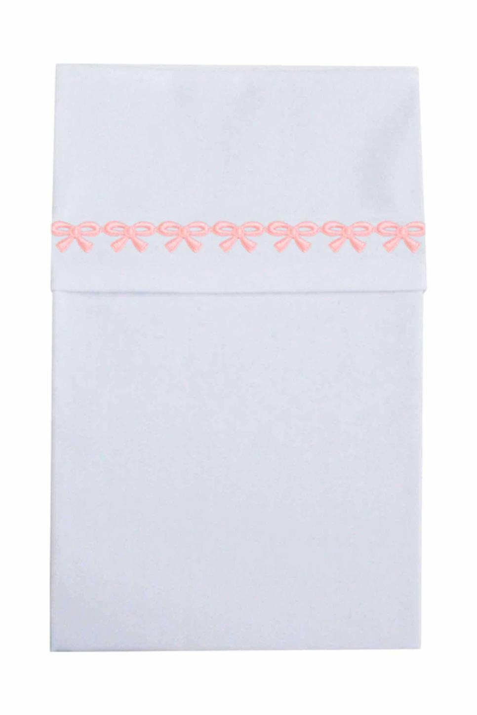 Cottonbaby ledikantlaken met strikjesband roze, Wit/roze