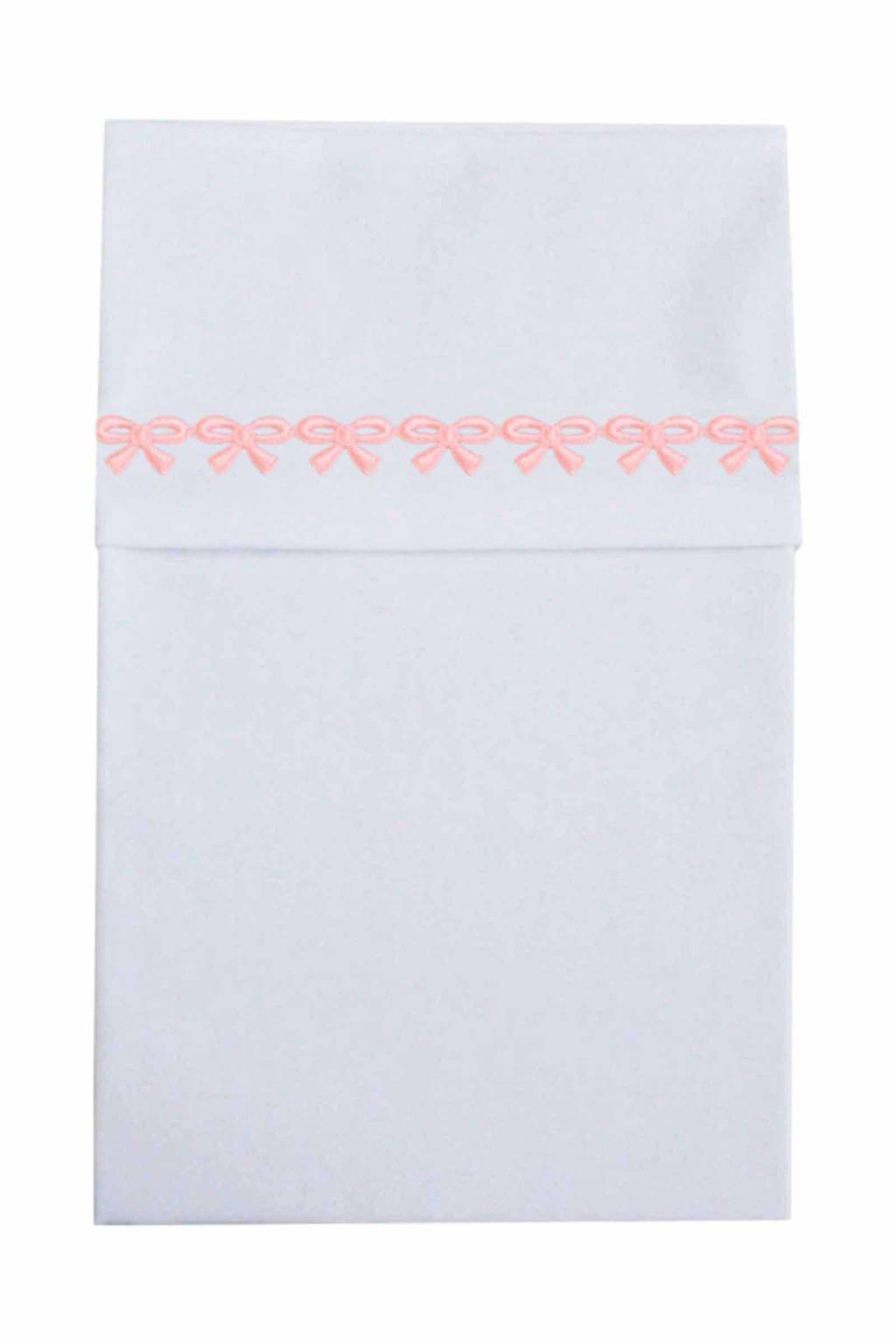 Cottonbaby wieglaken met strikjesband roze, Wit/roze
