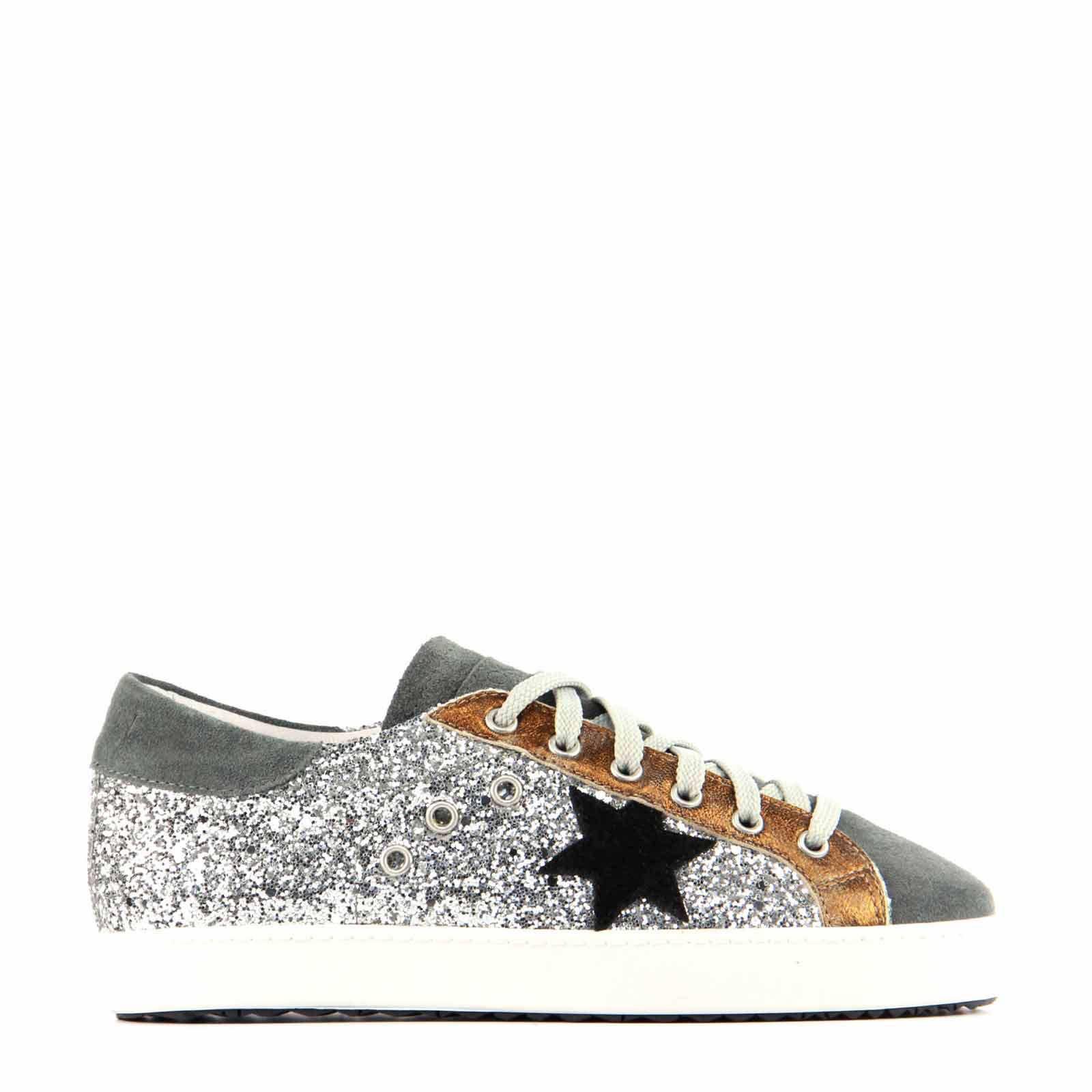 Stokton suède sneakers met glitters | wehkamp