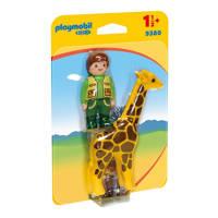 Playmobil 1-2-3 dierenverzorger met giraf 9380