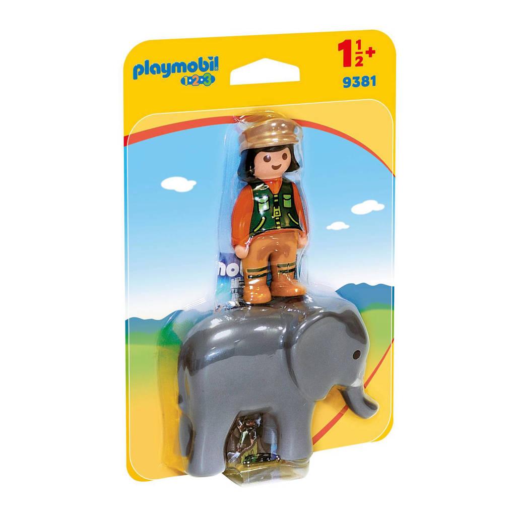 Playmobil 1-2-3 dierenverzorgster met olifant 9381
