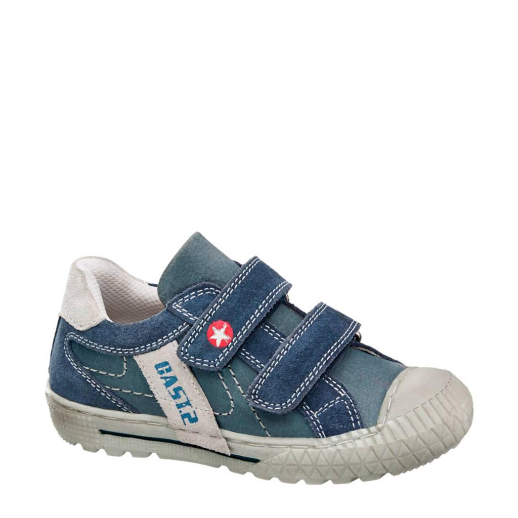 vanHaren Bobbi-Shoes  leren sneakers, Donkerblauw/wit/rood
