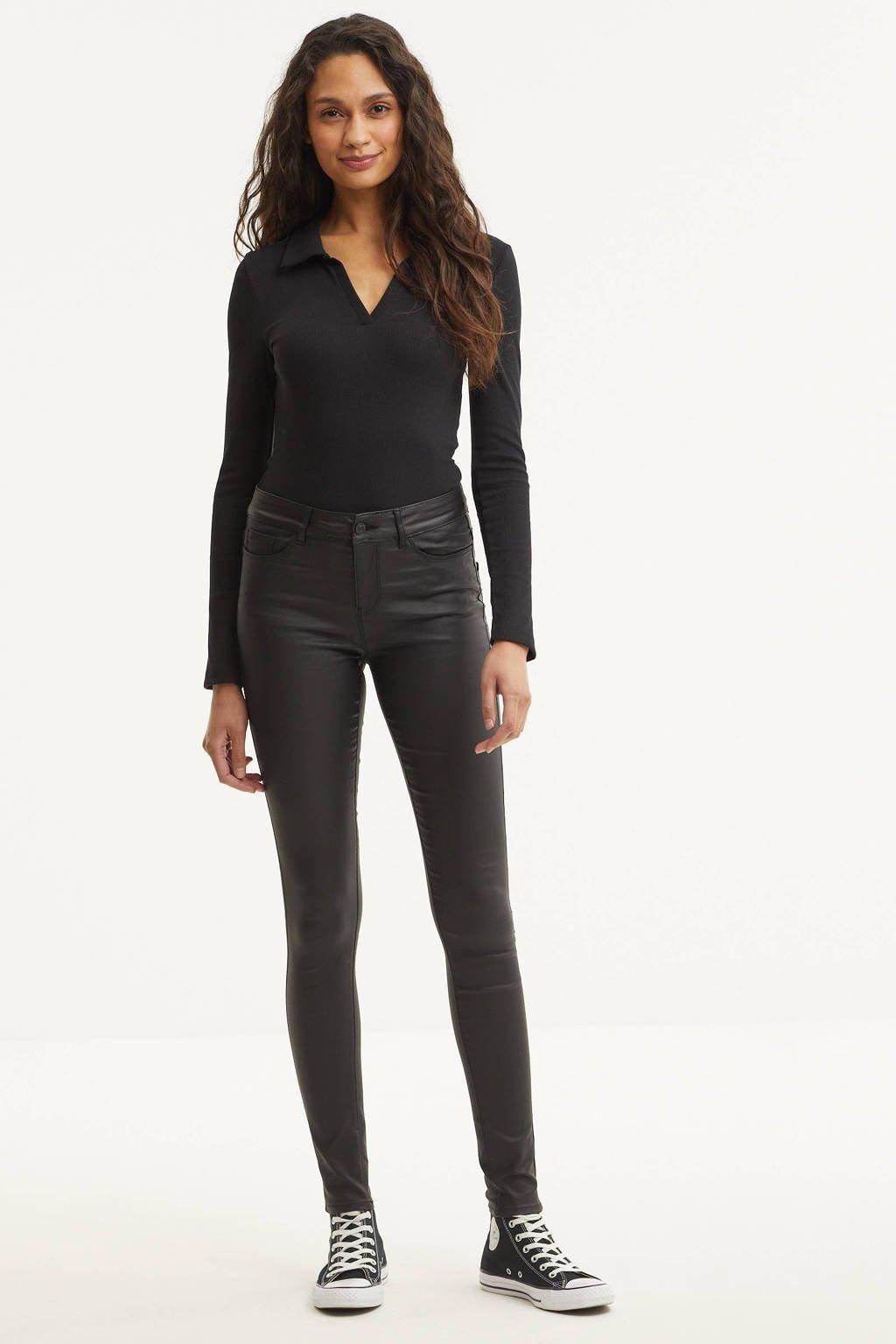 VERO MODA coated broek Seven zwart, Zwart