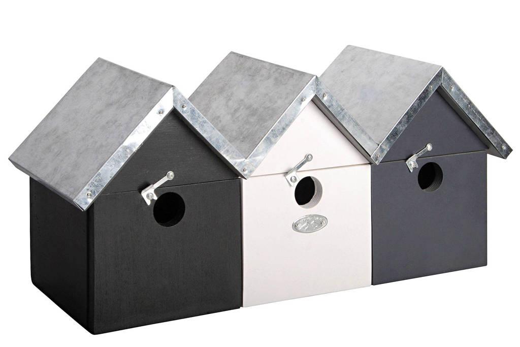 Esschert Vogelhuisje, Zwart/grijs/wit