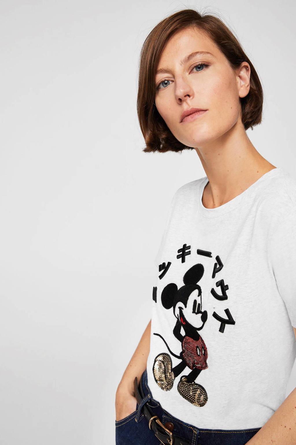 Mango Mickey Mouse T-shirt, Grijs melange
