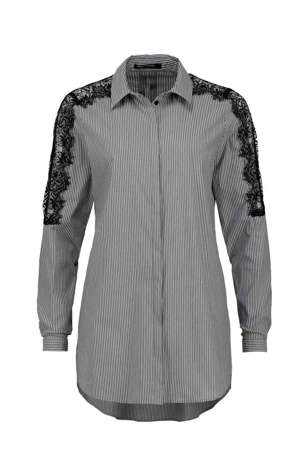 Expresso Rebel blouse, Grijs/wit/zwart