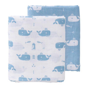 Whale swaddle set 2 stuks 120x120 cm blauw