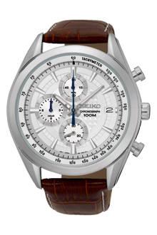 Chronograaf Staal Leer herenhorloge SSB181P1