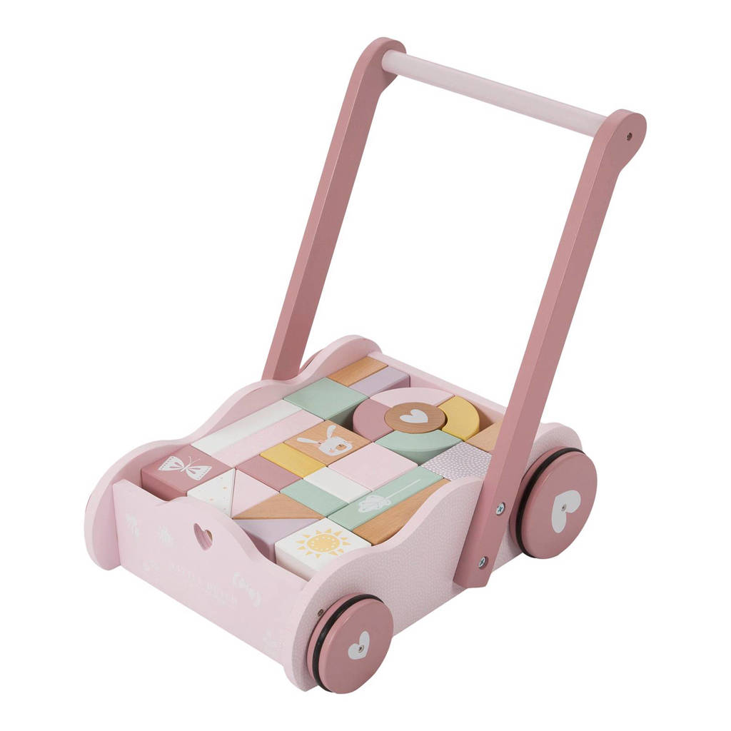 Little Dutch  houten blokkenkar loopwagen, Roze