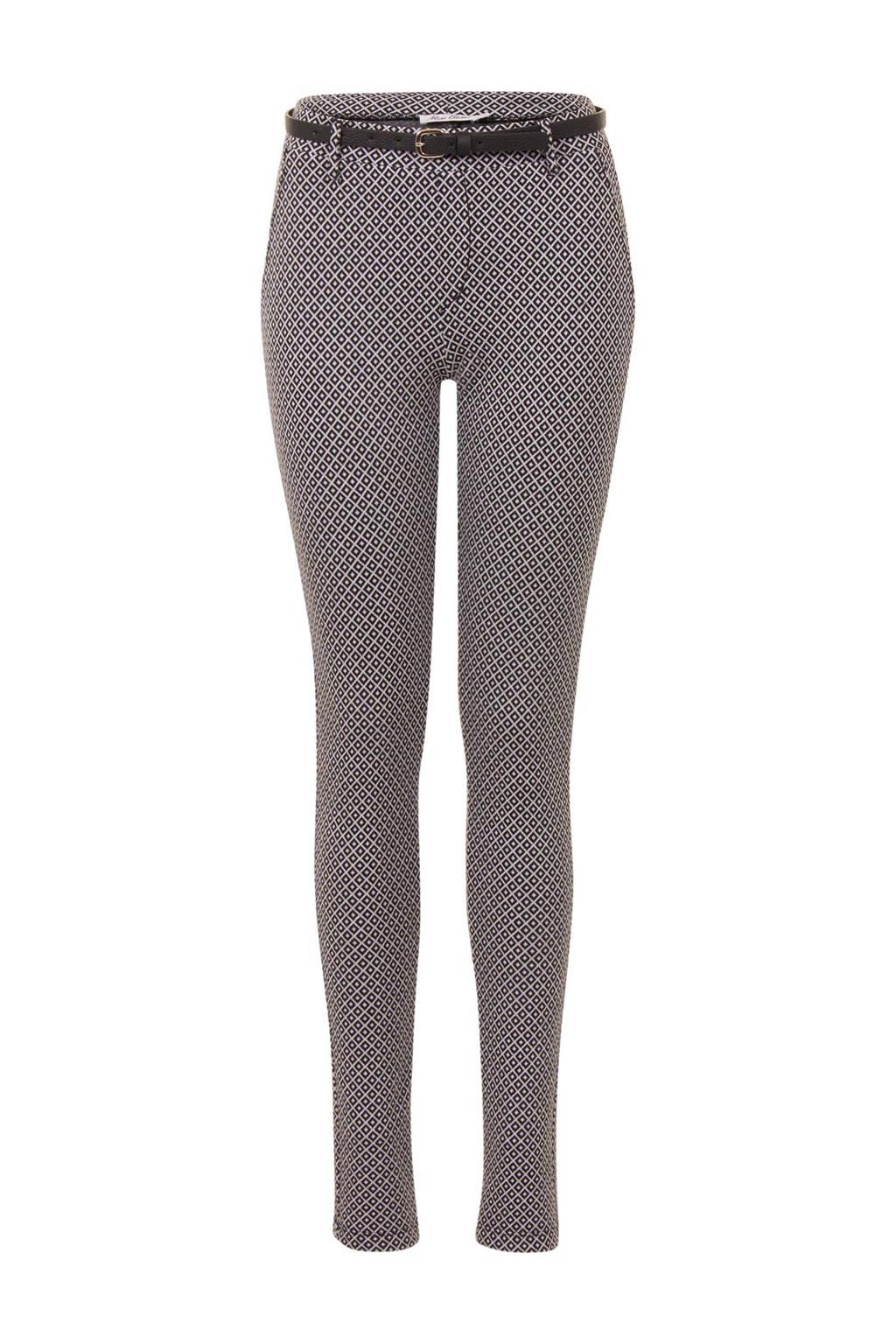Miss Etam Regulier cropped skinny fit pantalon, Zwart/wit