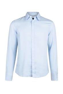 linnen slim fit overhemd lichtblauw