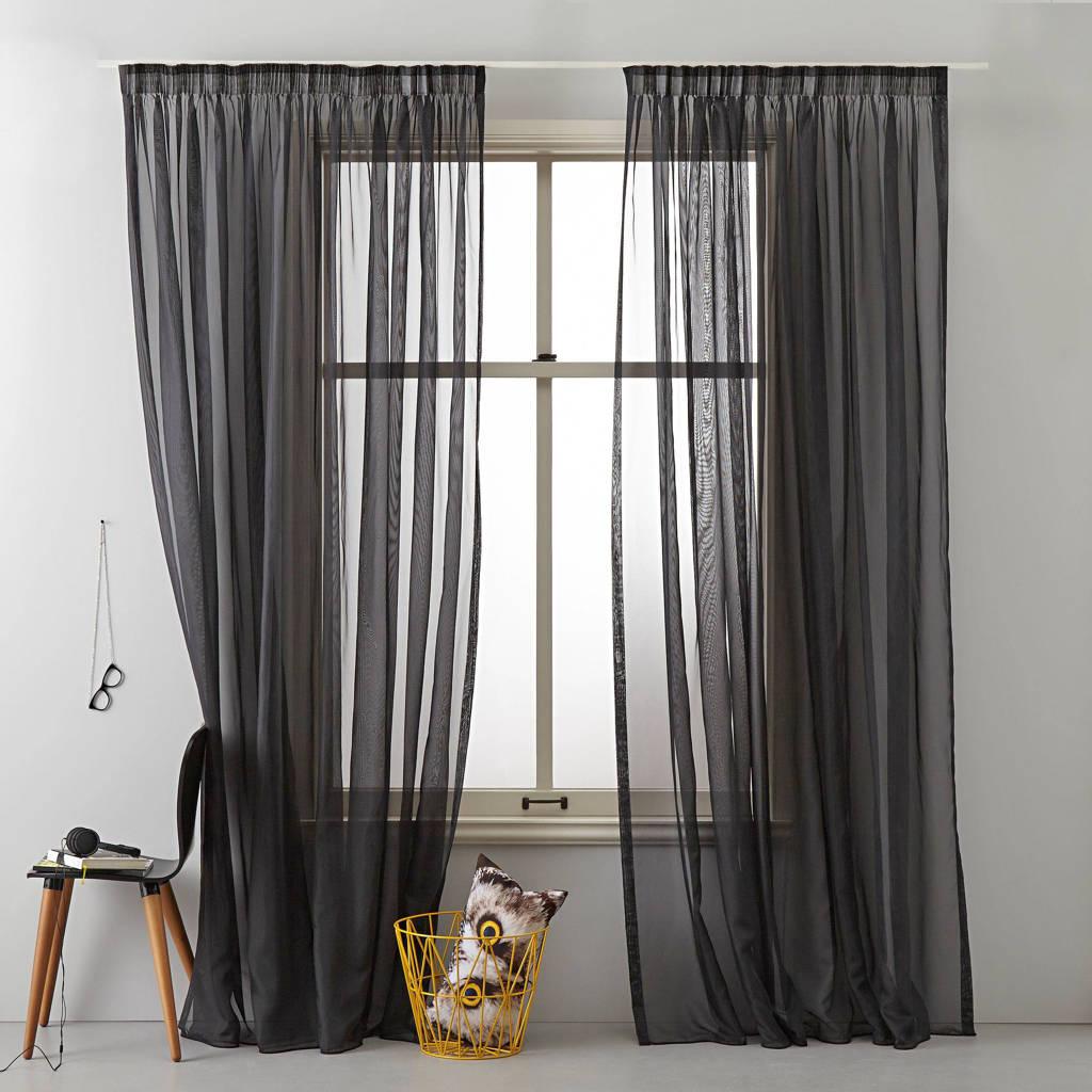 Wehkamp Home inbetween kant en klaar transparant gordijn (per stuk) (450 x 295 cm), Zwart