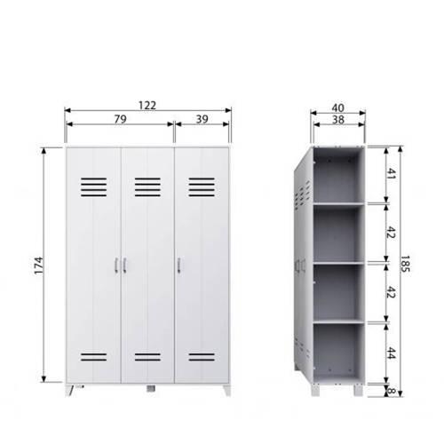 vtwonen Lockerkast 3-deurs Wit