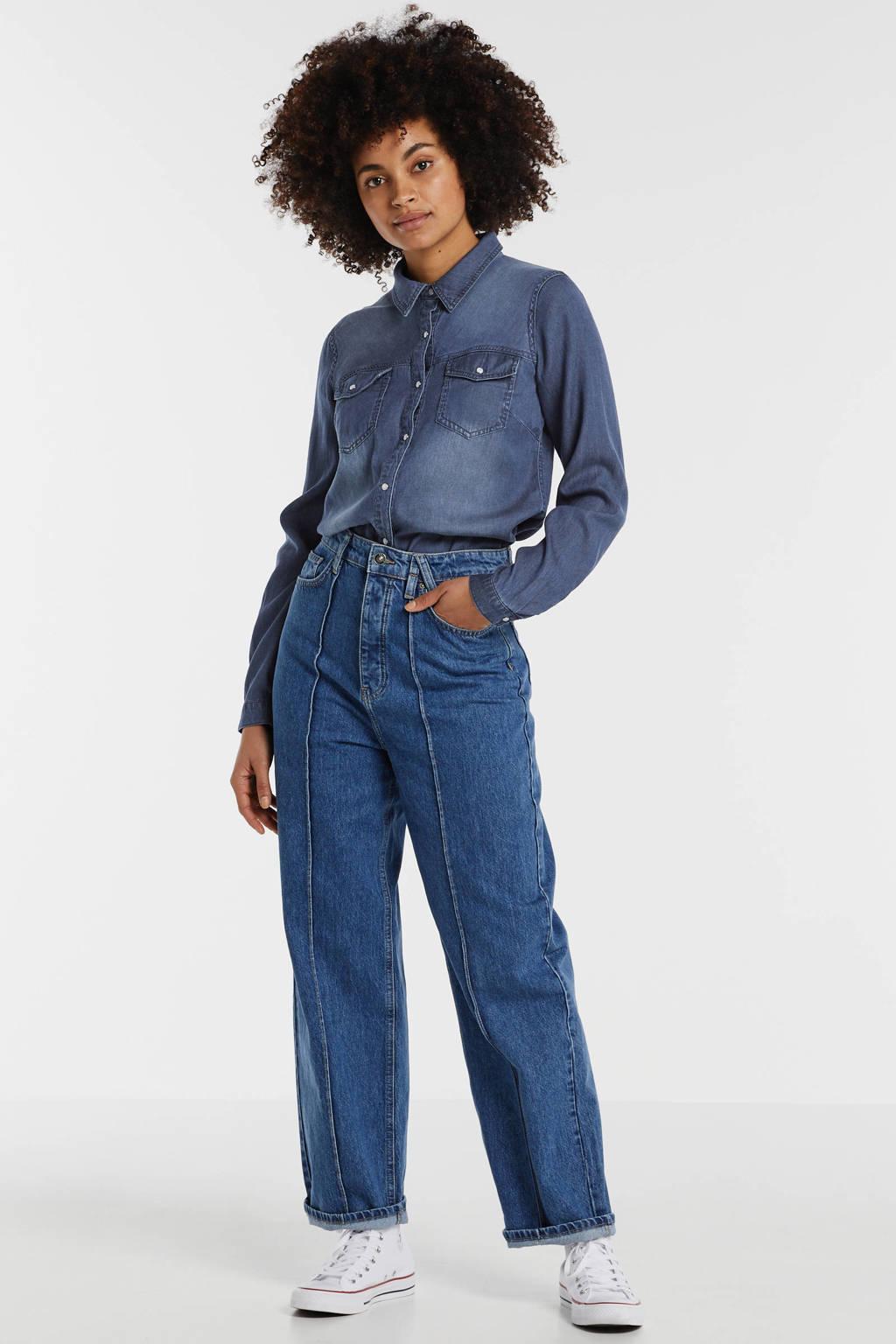 VILA spijkerblouse VIBISTA dark blue denim, Blauw