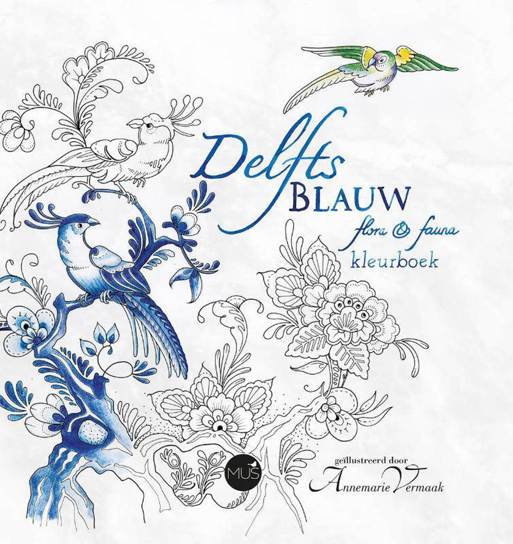 Zitzak Delfts Blauw.Delfts Blauw Flora Fauna Kleurboek Wehkamp