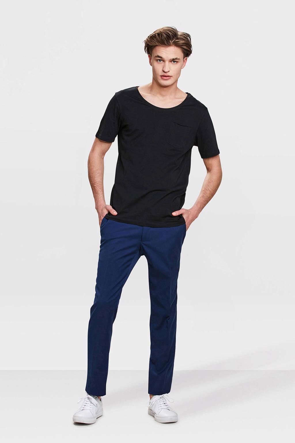 WE Fashion slim fit pantalon blauw, Blauw