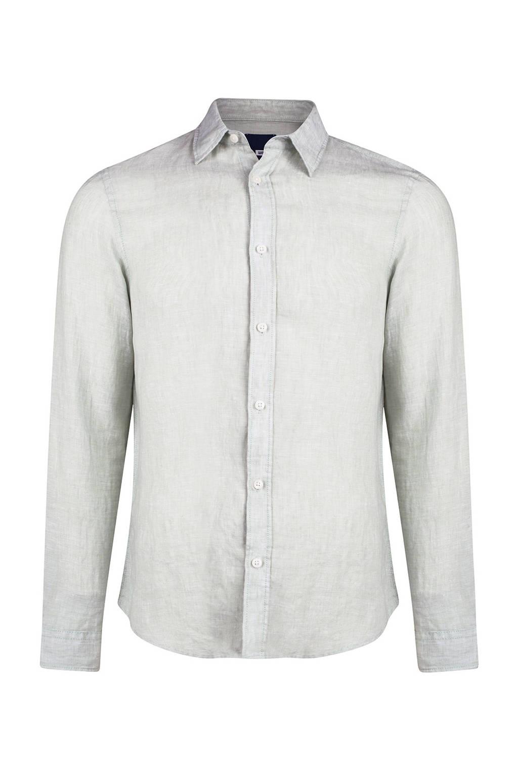 WE Fashion linnen slim fit overhemd mintgrijs, Mintgrijs