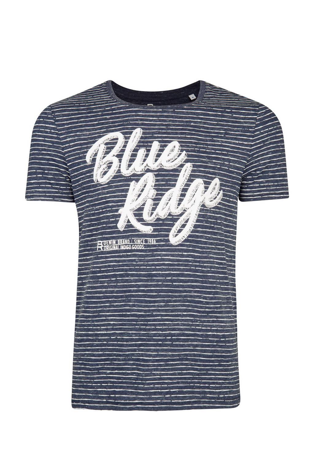 WE Fashion Blue Ridge gestreept slim fit T-shirt marineblauw, Marineblauw