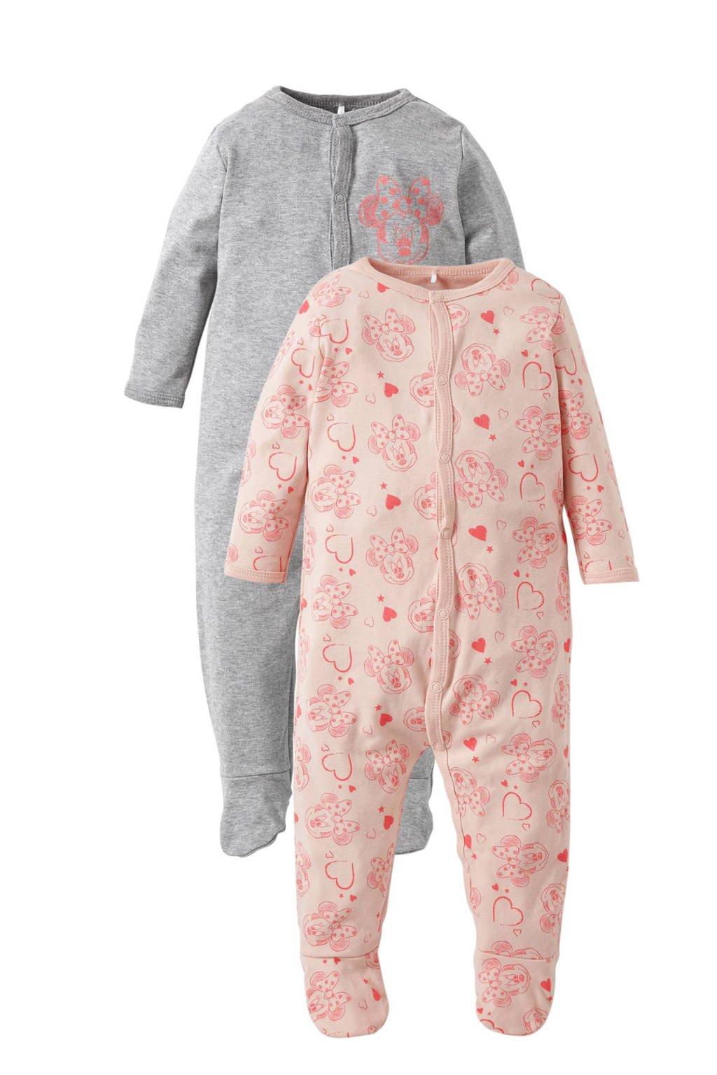 name it BABY newborn pyjama (set van 2), lichtroze/grijs melange