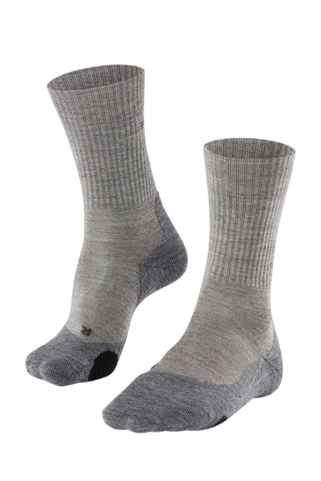 FALKE TK2 Wool wandelsokken, Grijs/zwart
