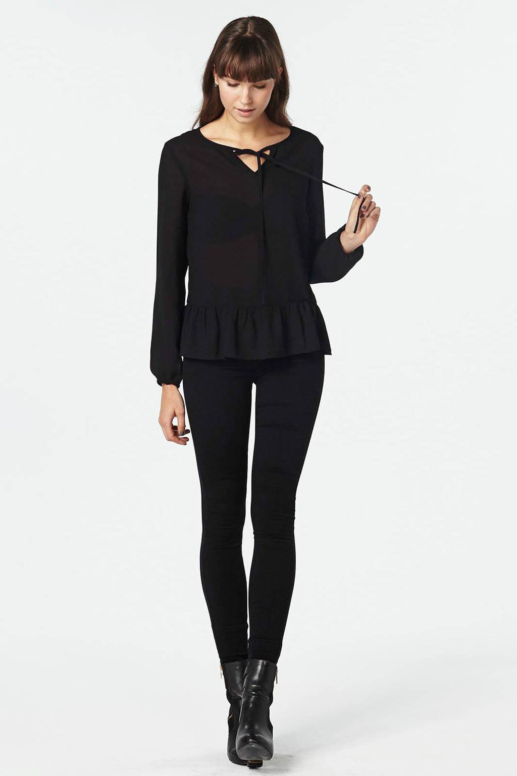 ONLY royal high skinny jeans, Zwart