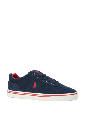 suède sneakers blauw/rood