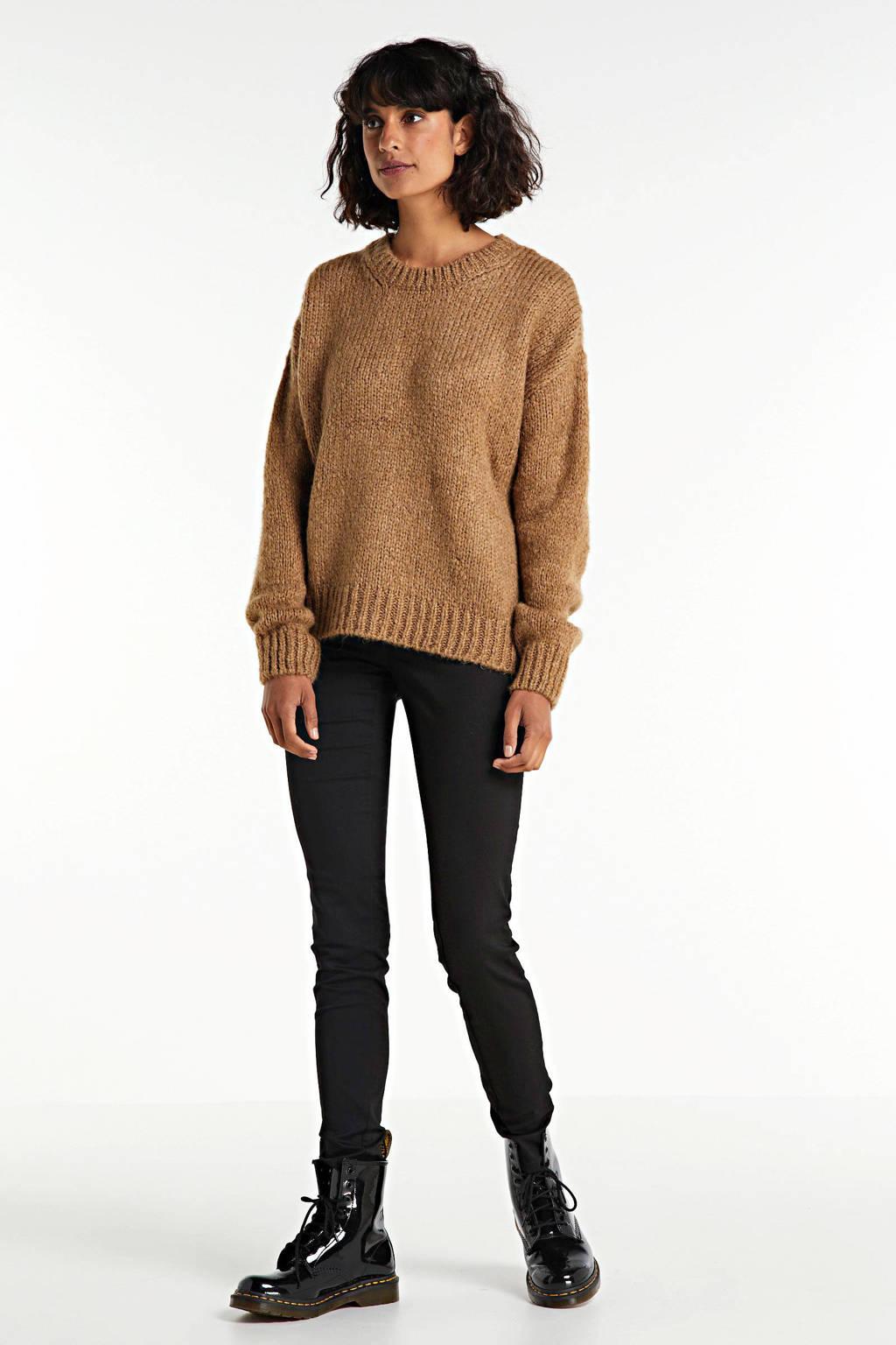 WE Fashion Blue Ridge mid rise skinny stretch jeans, Zwart