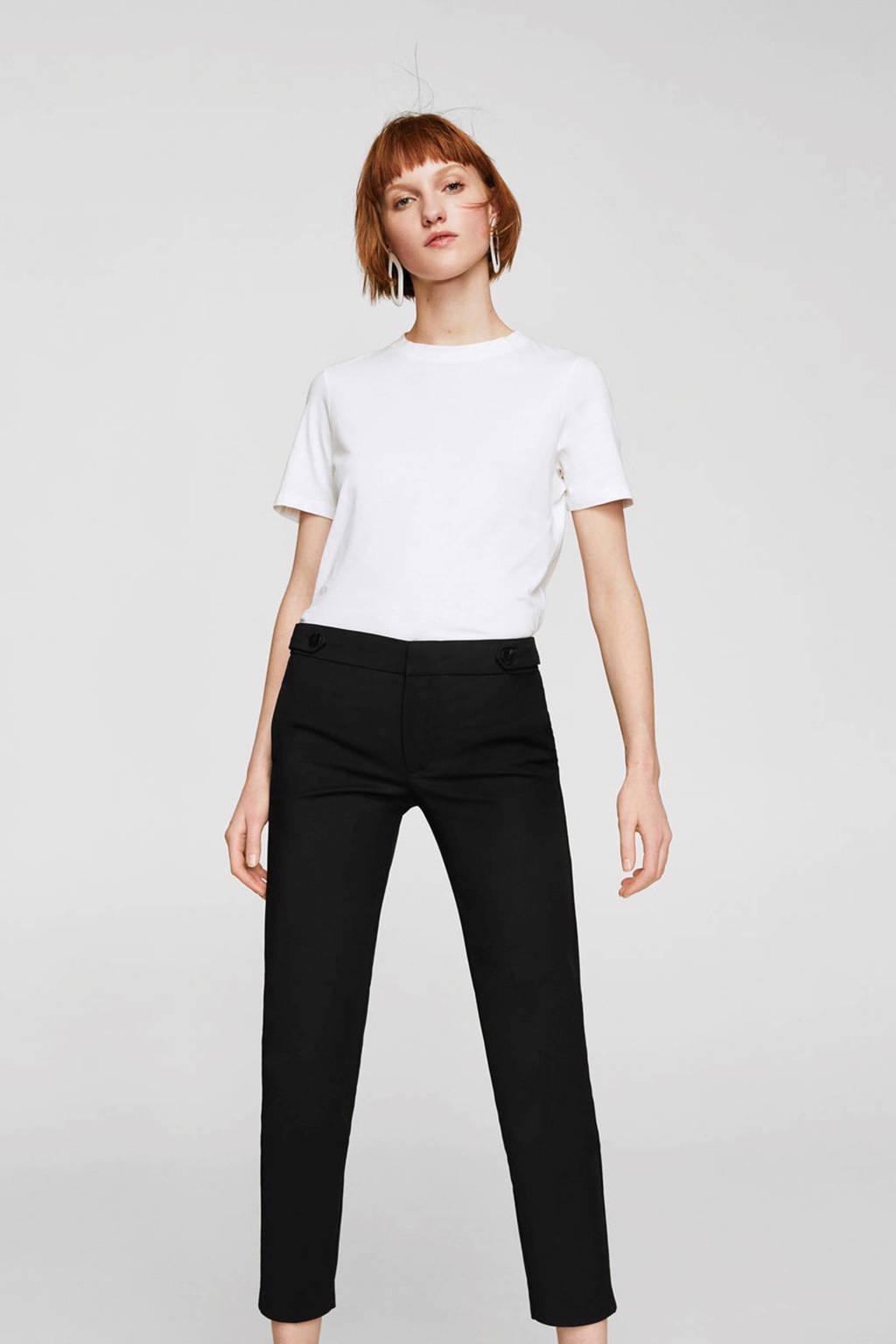 Mango cropped straight fit broek, Zwart