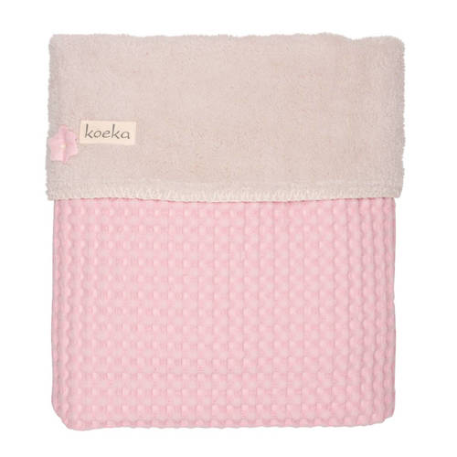 Koeka wiegdeken wafel-teddy Oslo old baby pink-pebble