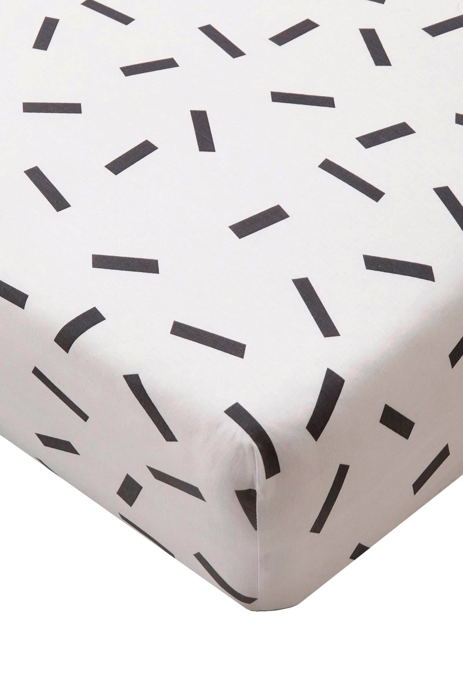 Hoeslaken Zwart Wit.Whkmp S Own Katoenen Hoeslaken Zwart Wit Wehkamp