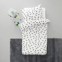 wehkamp home katoenen peuterdekbedovertrek (120x150 cm), Zwart/wit