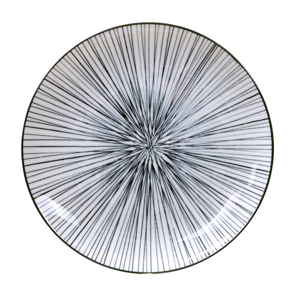 Tokyo Design Studio Nippon Black ontbijtbord (Ø20,6 cm), Zwart/wit