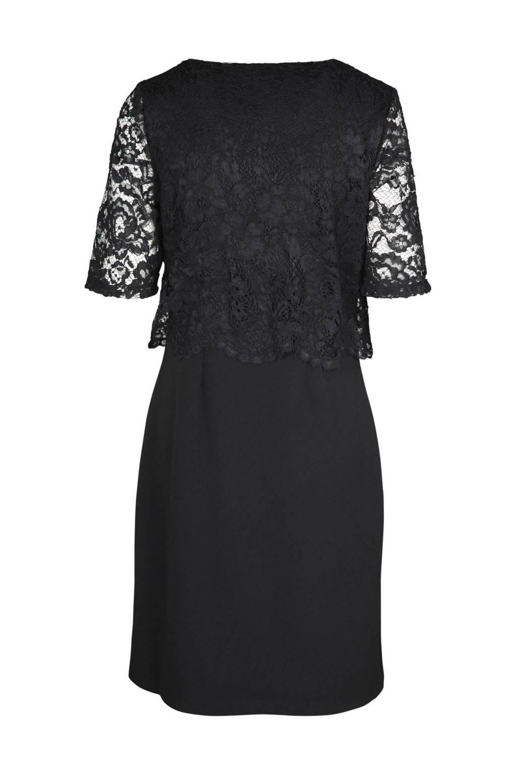 Cassis jurk met kant, Zwart