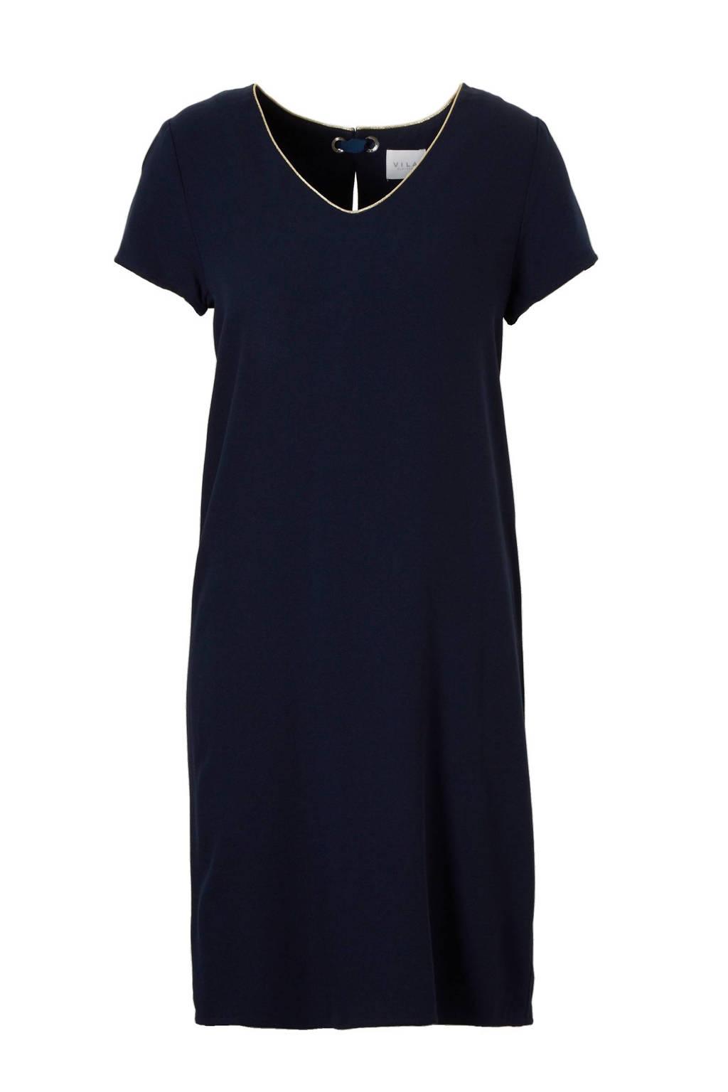VILA jurk met strikveter, Donkerblauw