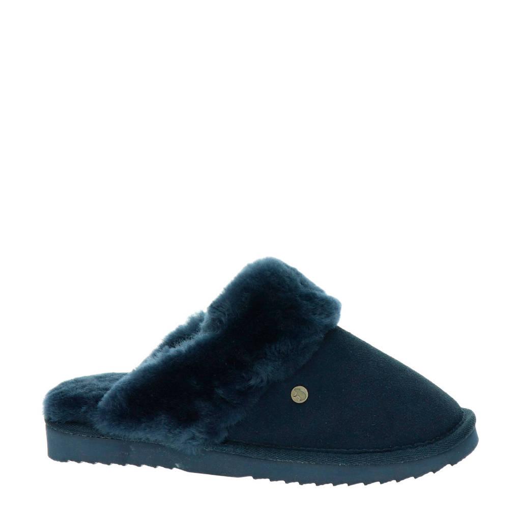 Warmbat Australia suède pantoffels blauw, Blauw
