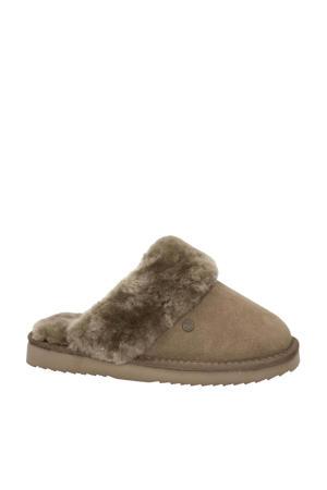 suède pantoffels taupe