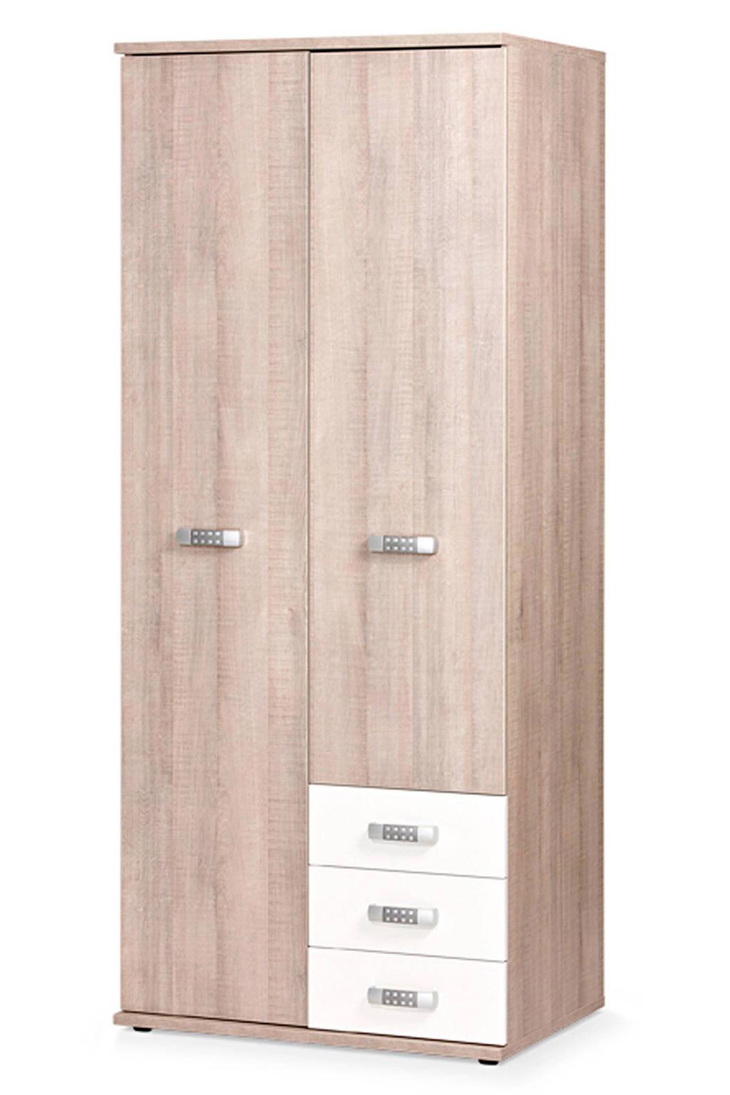 Beter Bed 2-deurs kledingkast wit Pep, Eiken/wit