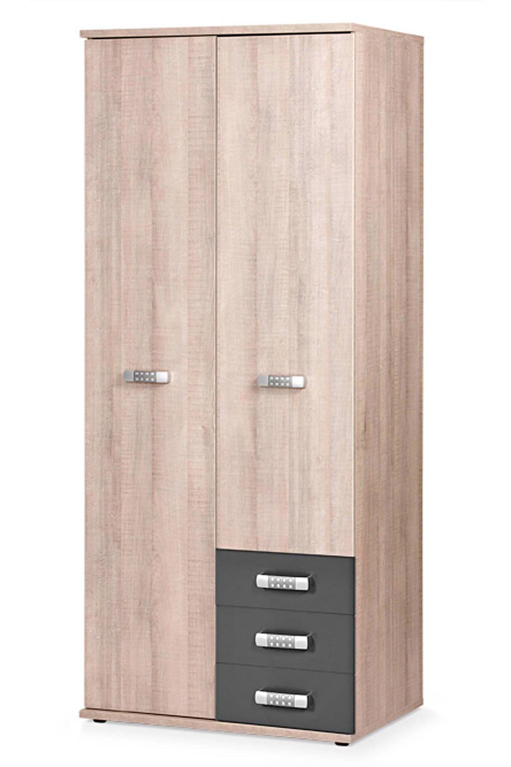 Beter Bed 2-deurs kledingkast wit Pep, Eiken/antraciet
