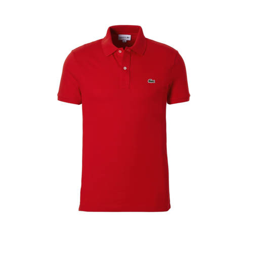 Lacoste slim fit polo rood Small