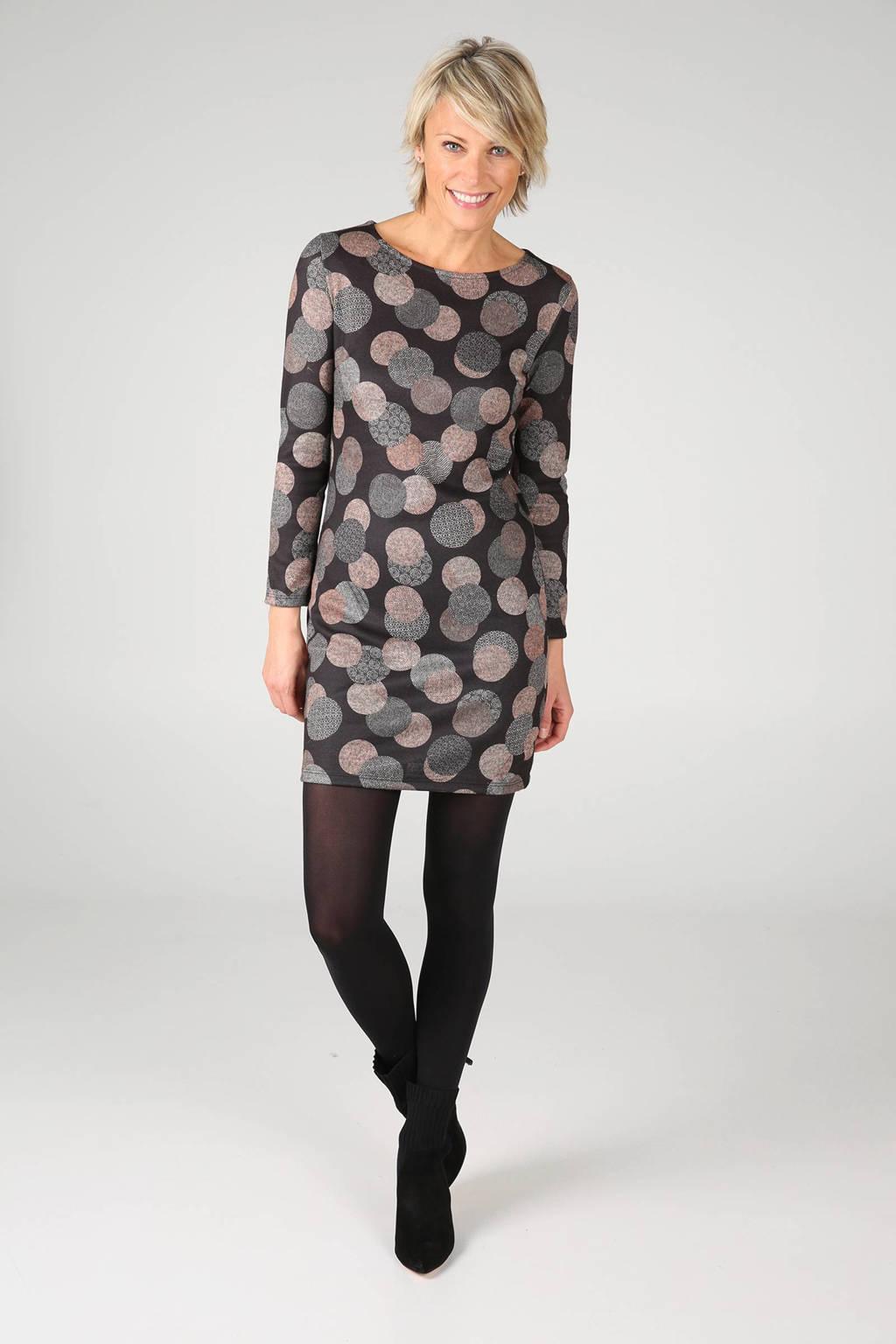 Cassis jurk met stippen, Antraciet/lichtbruin