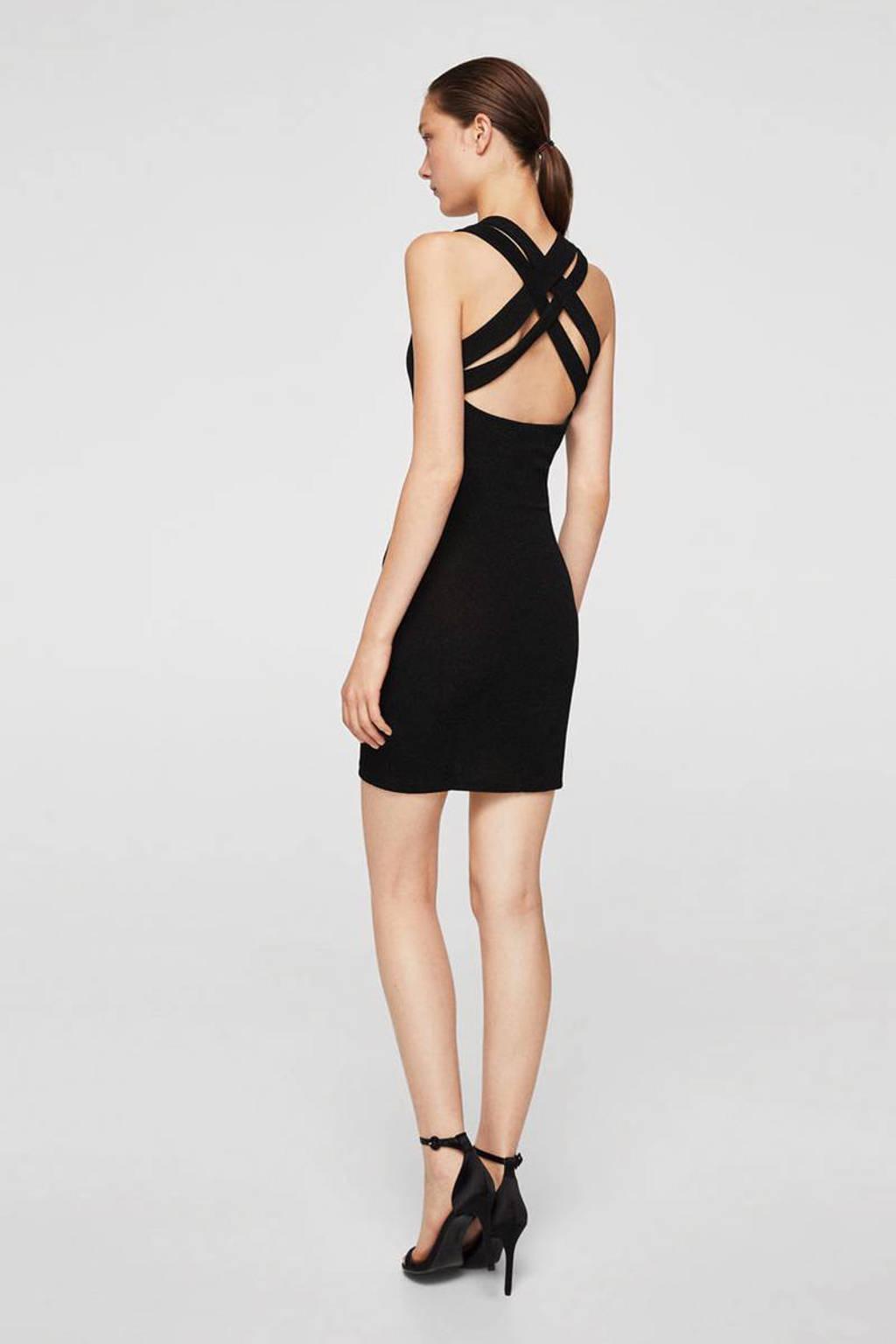 Mango glitter jurk, Zwart