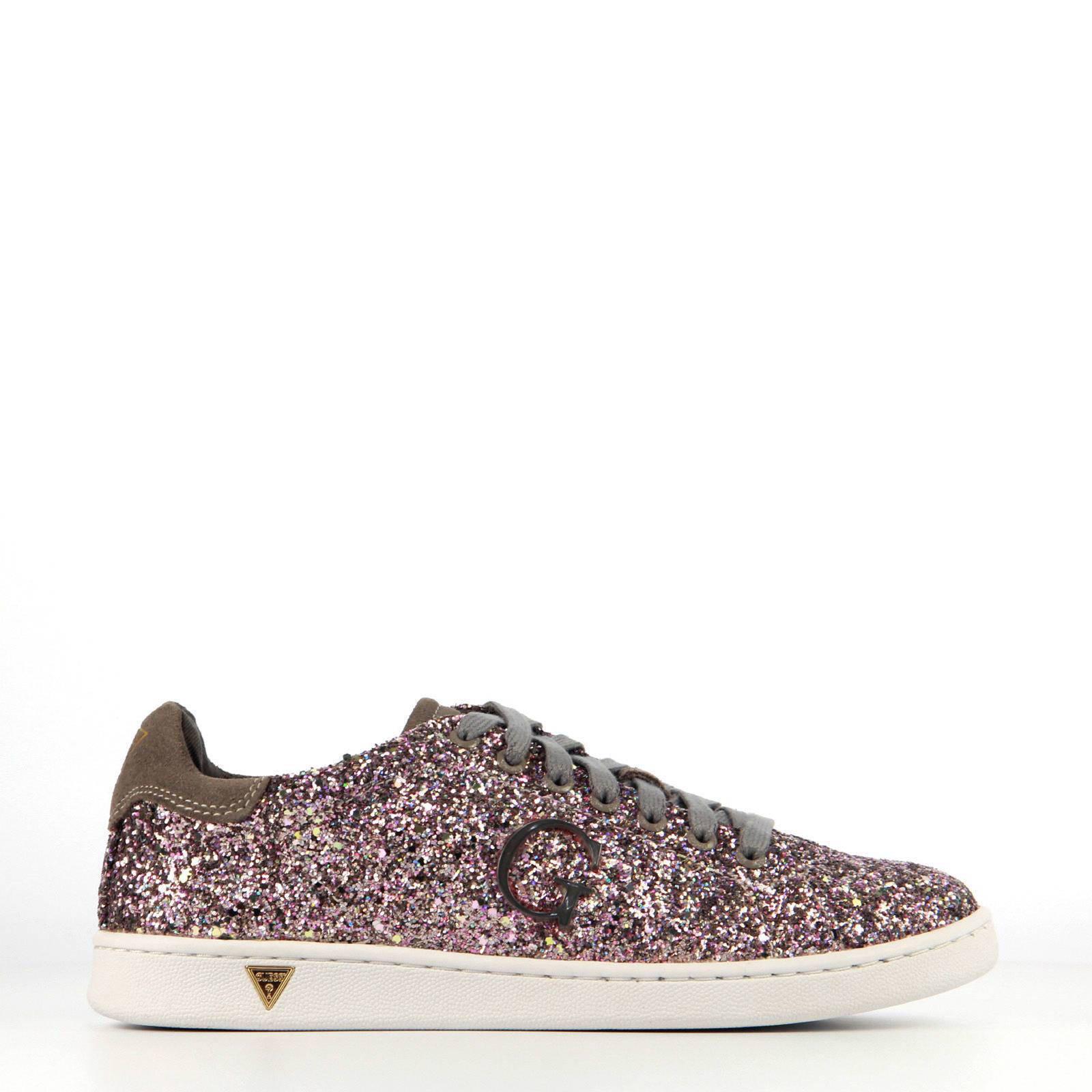 GUESS suède sneakers met glitters | wehkamp
